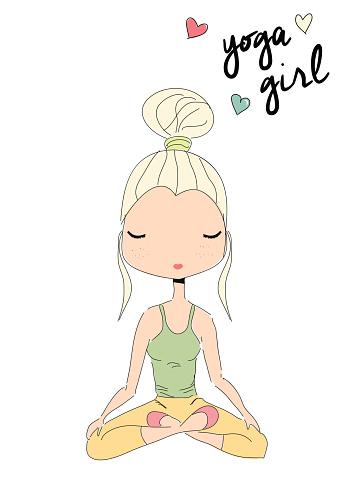 yoga girl sitting in lotus pose hand drawn stock