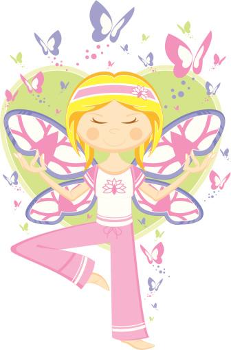 Yoga Girl with Butterflies & Heart