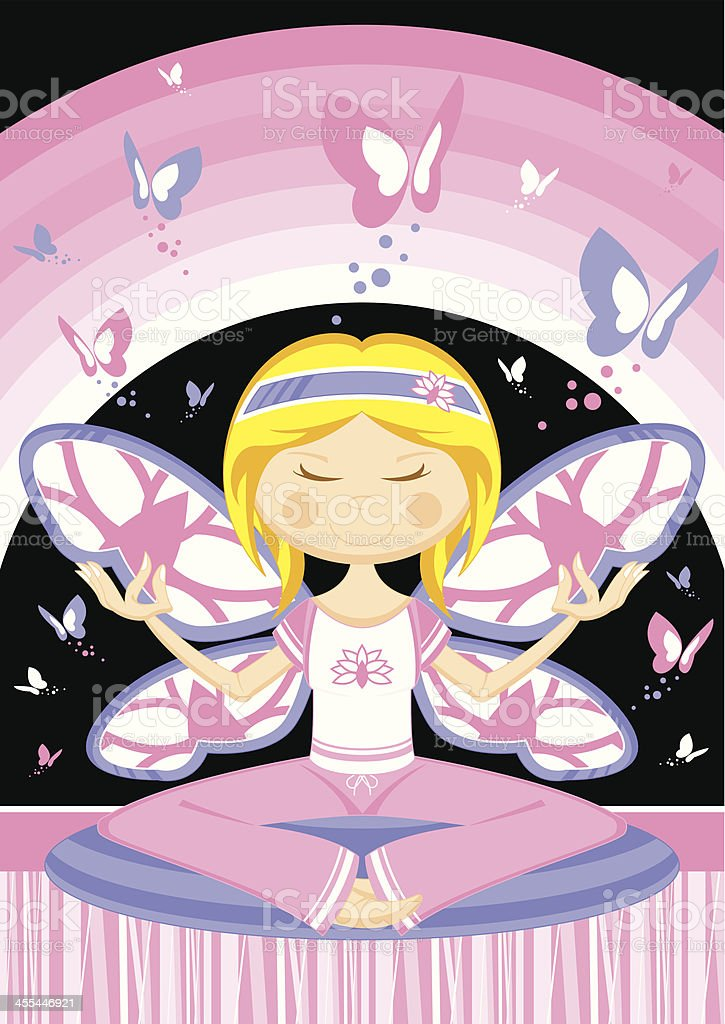 Yoga Girl with Butterflies royalty-free stock vector art