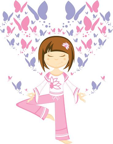 Yoga Girl with Butterflies