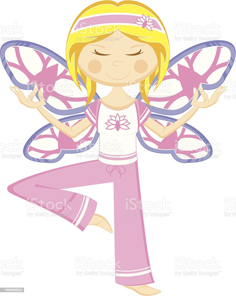 Yoga Girl with Butterfly Wings royalty-free stock vector art