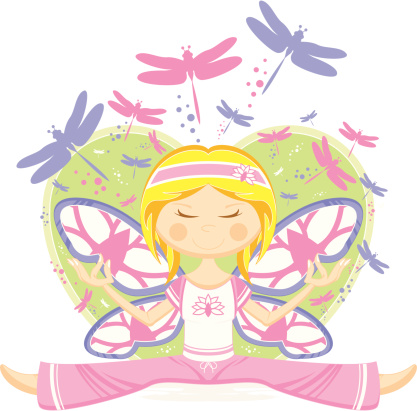 Yoga Girl with Dragonflies & Heart