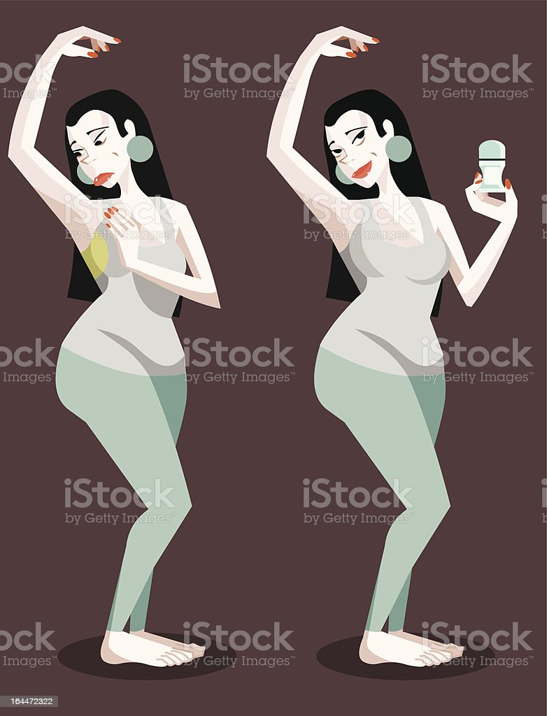 Yoga Girl with Sweat Stain vector art illustration