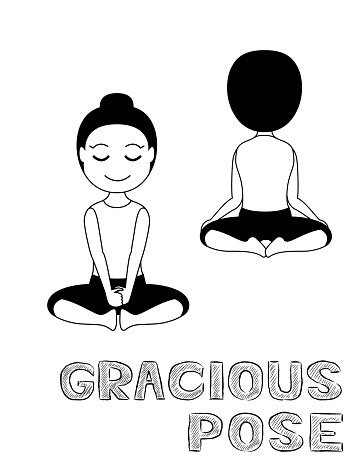 Yoga Gracious Pose Cartoon Vector Illustration Black And White Stock Illustration Download Image Now Istock