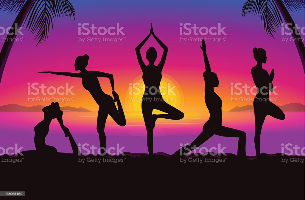 Yoga group in seaside at the sunset time. vector art illustration