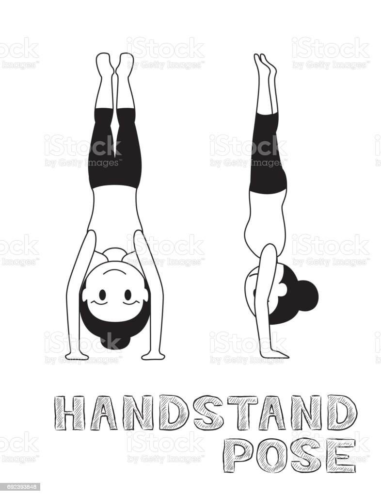 Yoga Handstand Pose Cartoon Vector Illustration Monochrome vector art illustration