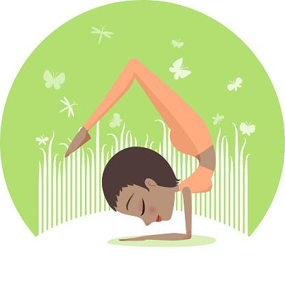 Vrschikasana B, Yoga Handstand Scorpion pose.
