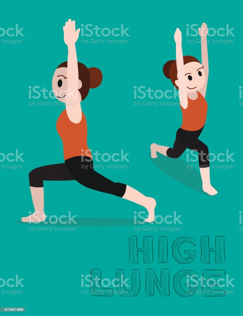 Yoga-hohe Longe-Cartoon-Vektor-Illustration – Vektorgrafik