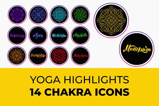 Yoga highlight covers 14 chakra icons set. Vector illustration