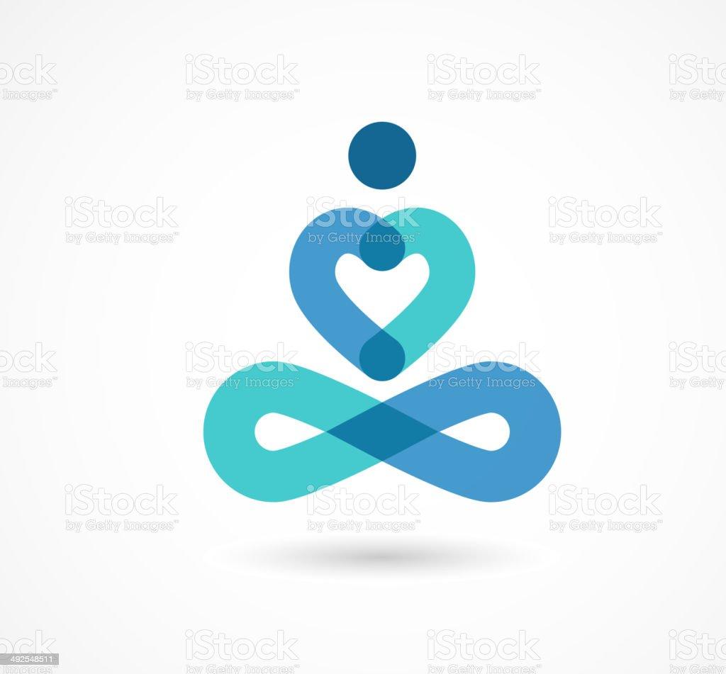 yoga icon, element and symbol vector art illustration