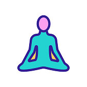 istock yoga icon vector. Isolated contour symbol illustration 1202947101