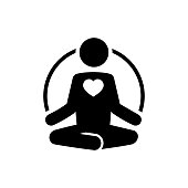 Yoga icon with heart in flat style. Meditate and love concept. Yoga symbol isolated on white background Simple abstract yoga and love icon in black Vector illustration for graphic design, Web, UI, app