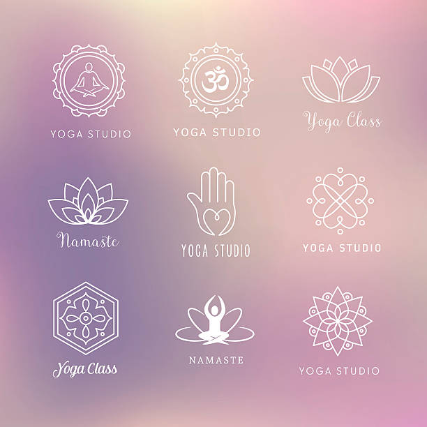 yoga icons - symbols - yoga stock illustrations, clip art, cartoons, & icons
