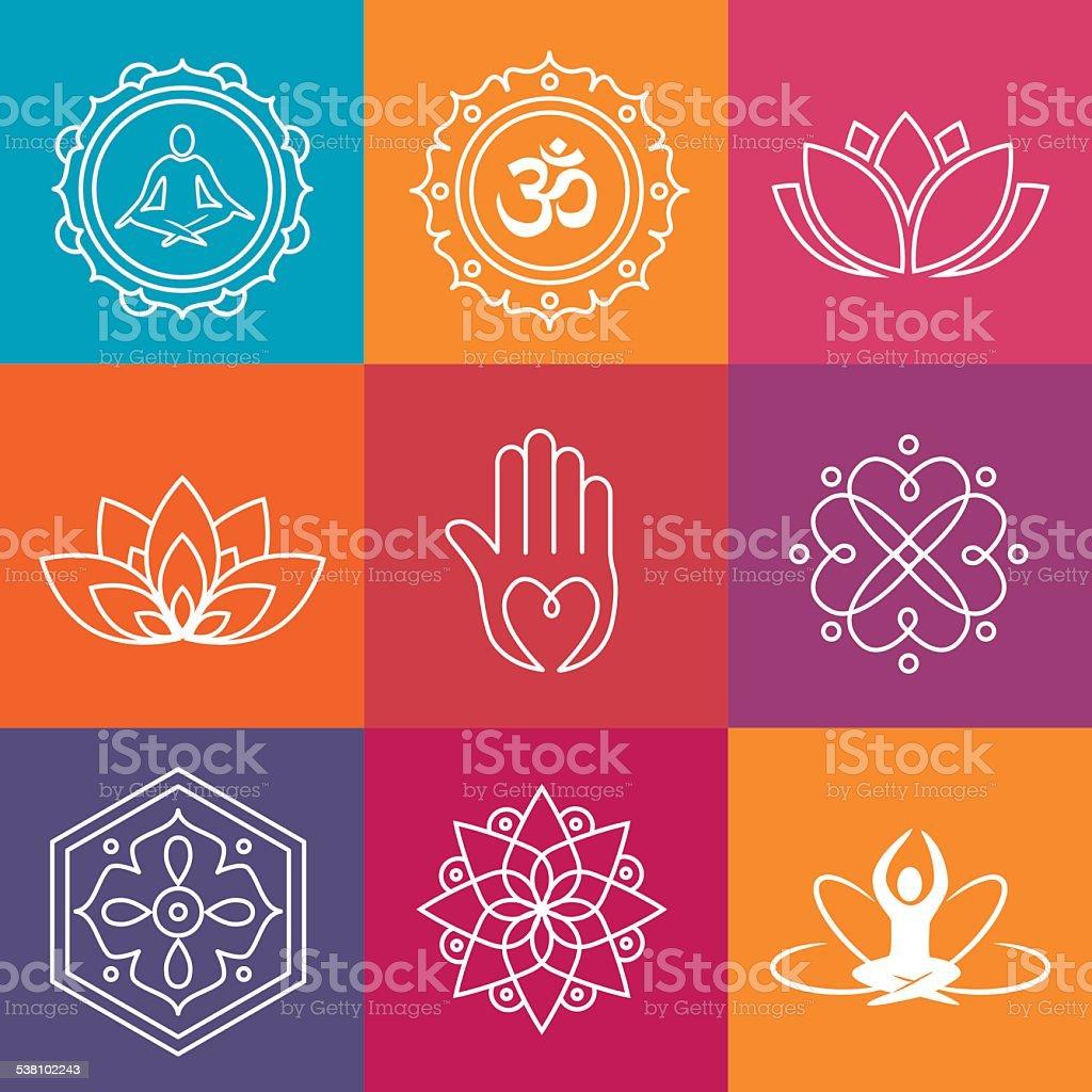 Yoga Icons vector art illustration
