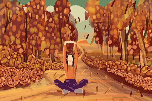 Yoga in Autumn forest