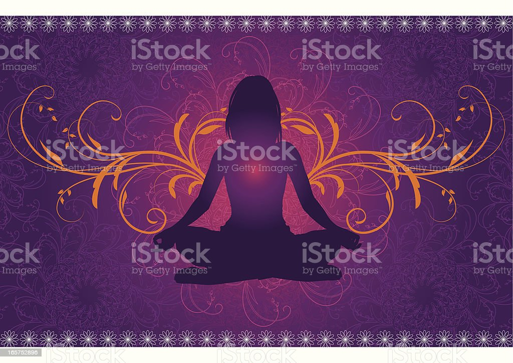 Yoga in front of a mandala pattern vector art illustration