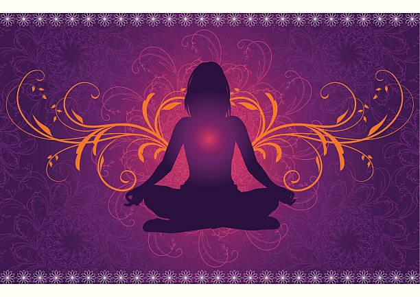 bildbanksillustrationer, clip art samt tecknat material och ikoner med yoga in front of a mandala pattern - korslagda ben