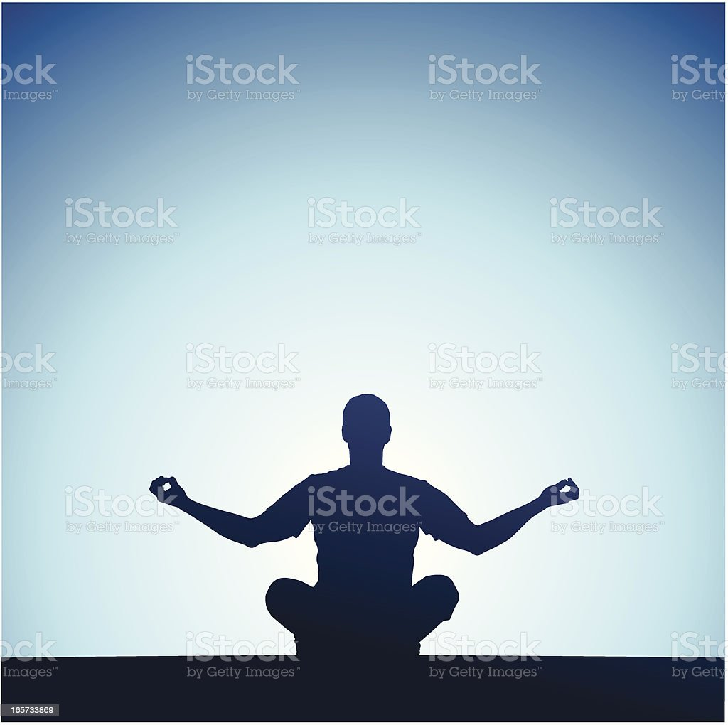 Yoga in front of a sunset vector art illustration