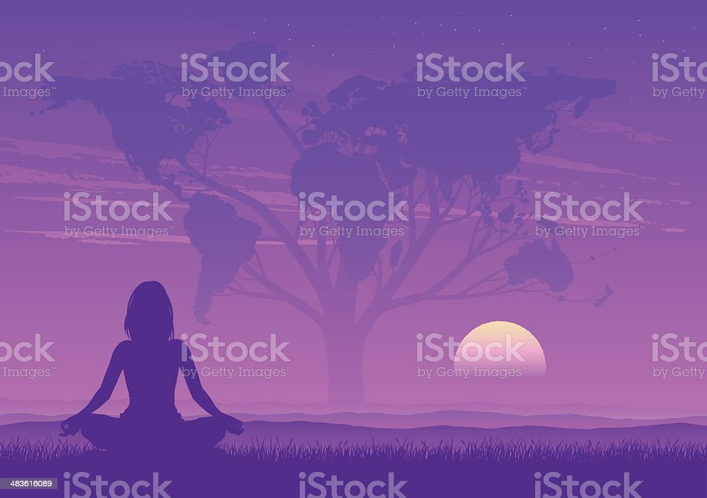 Yoga in front of a tree vector art illustration