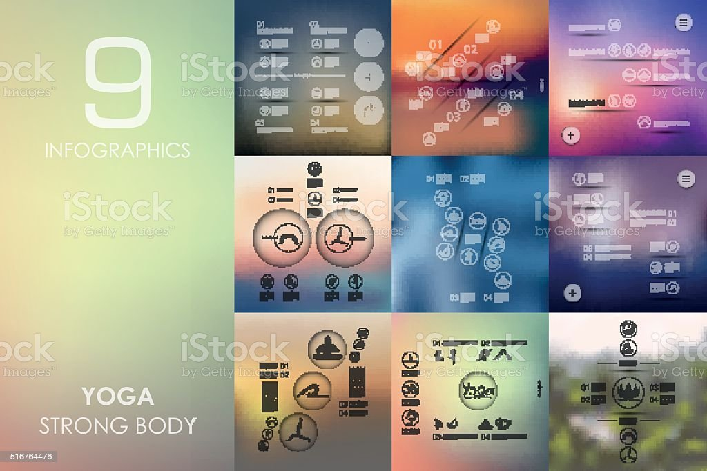 yoga infographic with unfocused background vector art illustration