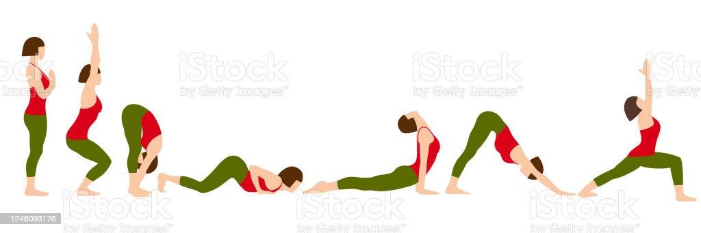 Yoga Infographics Surya Namaskar Sequence Or Salutation To The Sun Yoga Poses Female Cartoon Character Practicing Hatha Yoga Flat Vector Illustration Asanas Stock Illustration Download Image Now Istock