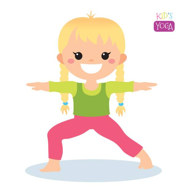 Yoga Kid Vector Art Illustration