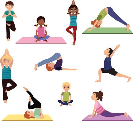 yoga kids asanas poses set stock illustration  download