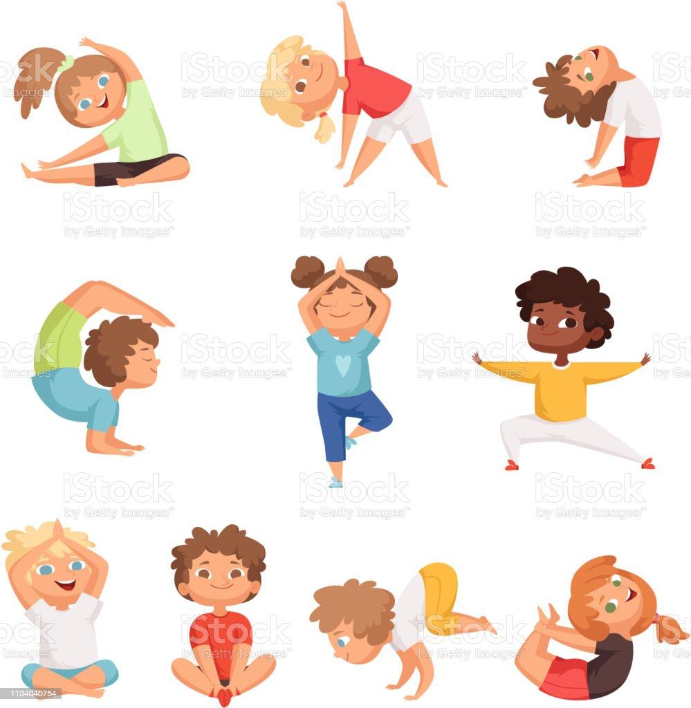 요가 키즈 캐릭터 피트 니스 스포츠 어린이 포즈와 만들기 체조 요가 운동 벡터 일러스트 건강한 생활방식에 ...