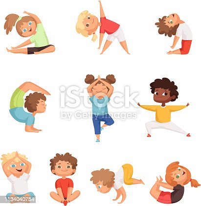 Yoga kids characters. Fitness sport childrens posing and making gymnastics yoga exercises vector illustrations. Sport yoga child, health and meditation boy and girl