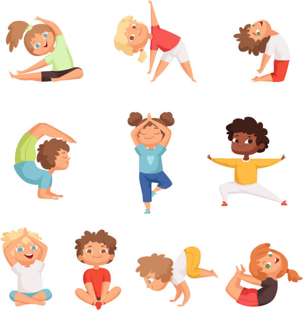 Yoga kids characters. Fitness sport childrens posing and making gymnastics yoga exercises vector illustrations Yoga kids characters. Fitness sport childrens posing and making gymnastics yoga exercises vector illustrations. Sport yoga child, health and meditation boy and girl yoga stock illustrations