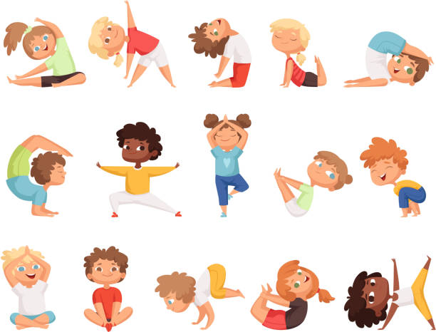 yoga-kinder. kinder machen übungen in verschiedenen posen gesunde sport vektor zeichentrickfiguren - kind stock-grafiken, -clipart, -cartoons und -symbole