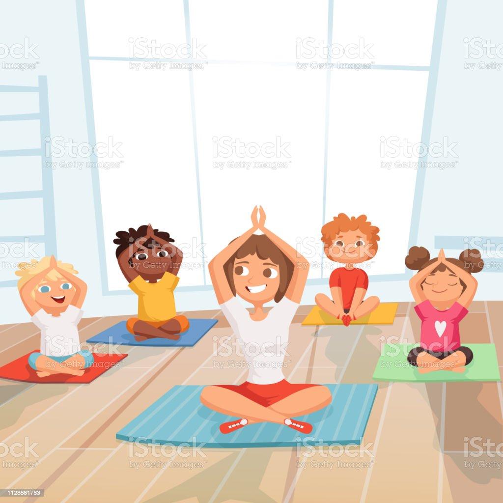 Ilustración De Grupo De Niños De Yoga Niños Haciendo