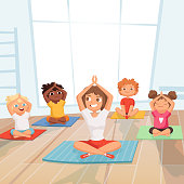 Yoga kids group. Children making exercises with instructor in gym vector cartoon background. Illustration of gym yoga pose, meditation class