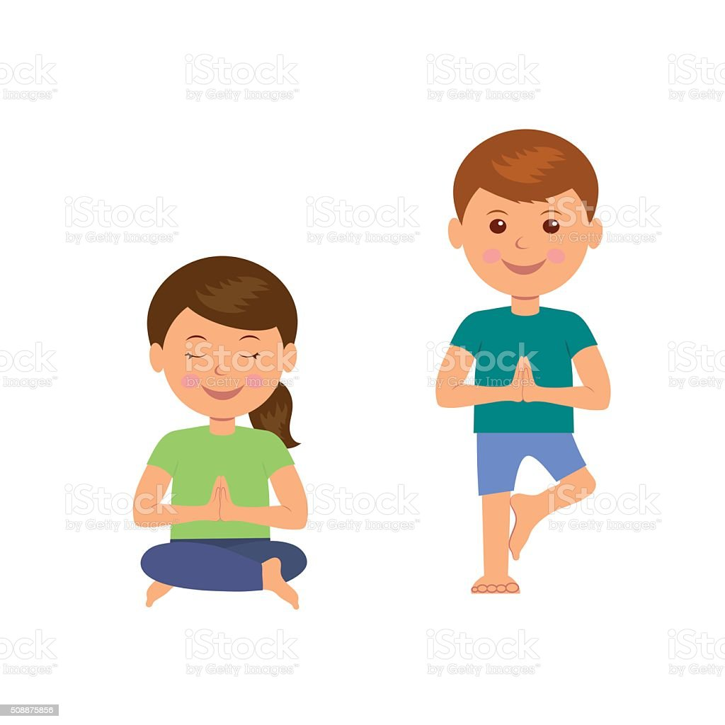 Yoga Kids Gymnastics For Children And Healthy Lifestyle Stock Illustration Download Image Now Istock