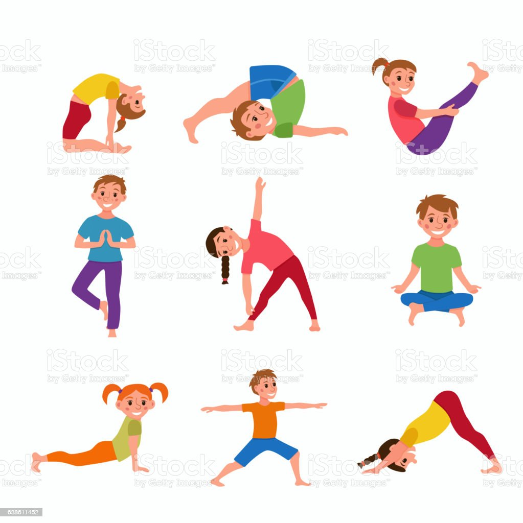 Yoga Kids Poses Set Royalty Free Stock Vector Art Amp
