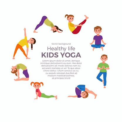 ilustración de yoga kids poses set y más vectores libres