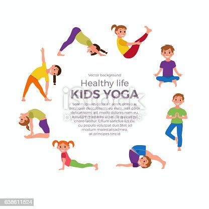 Yoga Kids Poses Set Stock Vector Art More Images Of Activity 638611524