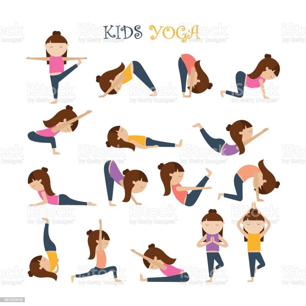 Yoga Kids Poses Stock Illustration Download Image Now Istock