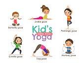 yoga kids poses vector illustration
