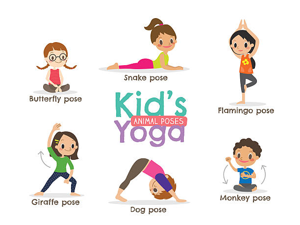 yoga kids poses vector illustration yoga kids poses vector cartoon illustration good posture stock illustrations