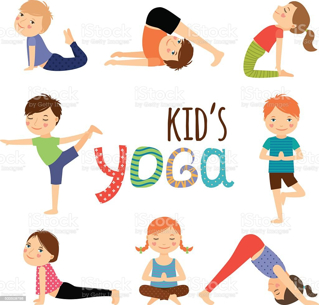 Yoga kids set vector art illustration