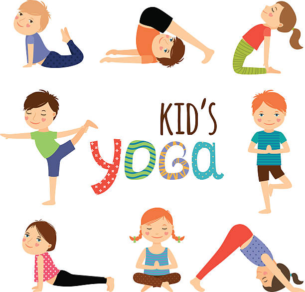 yoga kids set - yoga stock illustrations, clip art, cartoons, & icons