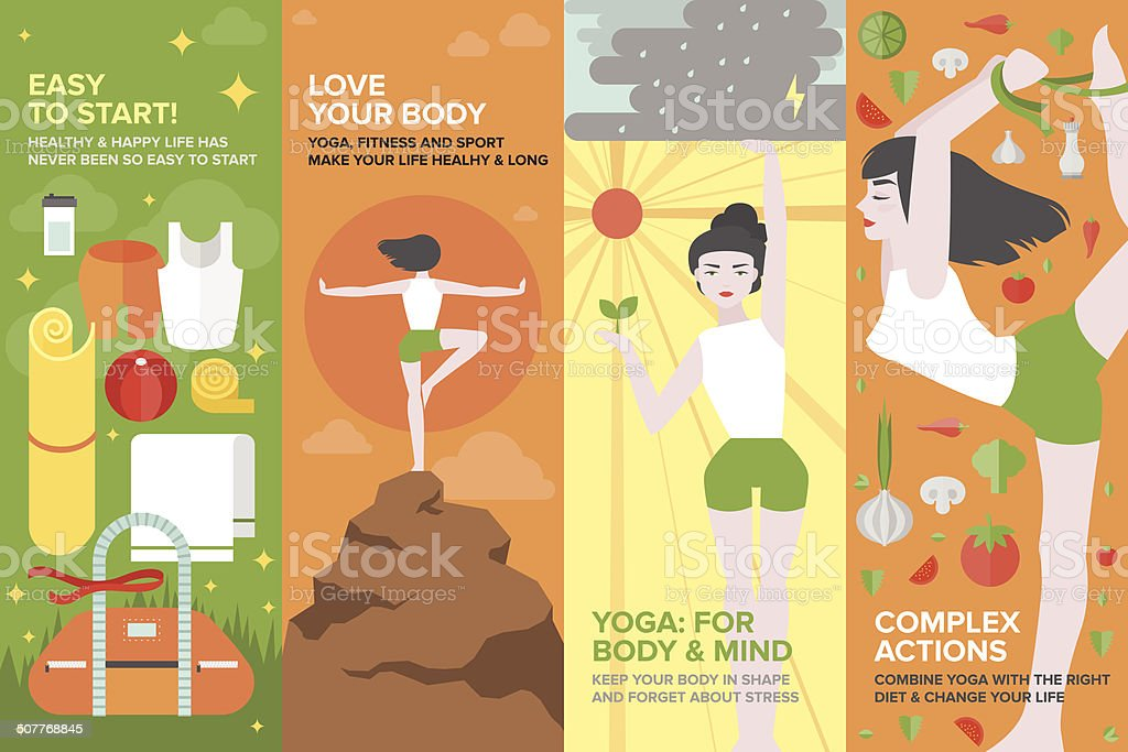 Yoga life for body and mind flat banner set vector art illustration