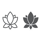 Yoga line and glyph icon, flower and health, lotus sign, vector graphics, a linear pattern on a white background, eps 10.