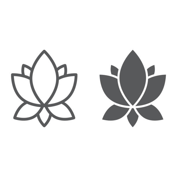 ilustraciones, imágenes clip art, dibujos animados e iconos de stock de icono de línea y glifo de yoga, salud, signo de lotus y flores gráficos vectoriales, un patrón linear sobre un fondo blanco. - yoga