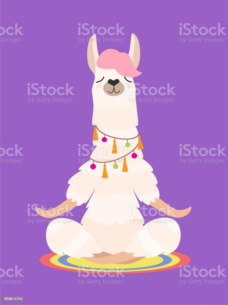 Yoga llama meditates isolated on purple background. Vector illustration. - Grafika wektorowa royalty-free (Alpaka)