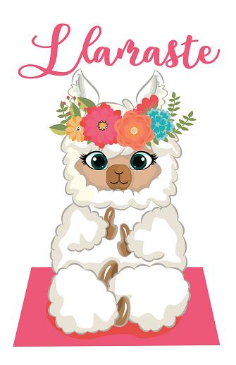 Yoga llama meditates isolated on white background. Vector illustration.
