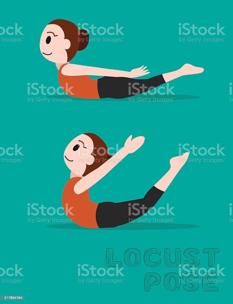 Yoga Locust Pose Cartoon Vector Illustration vector art illustration