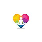 Yoga with heart shape logo design template. Natural products logo. Cosmetics icon. Spa logo. Beauty salon logo. Template for yoga center, spa center or yoga studio.