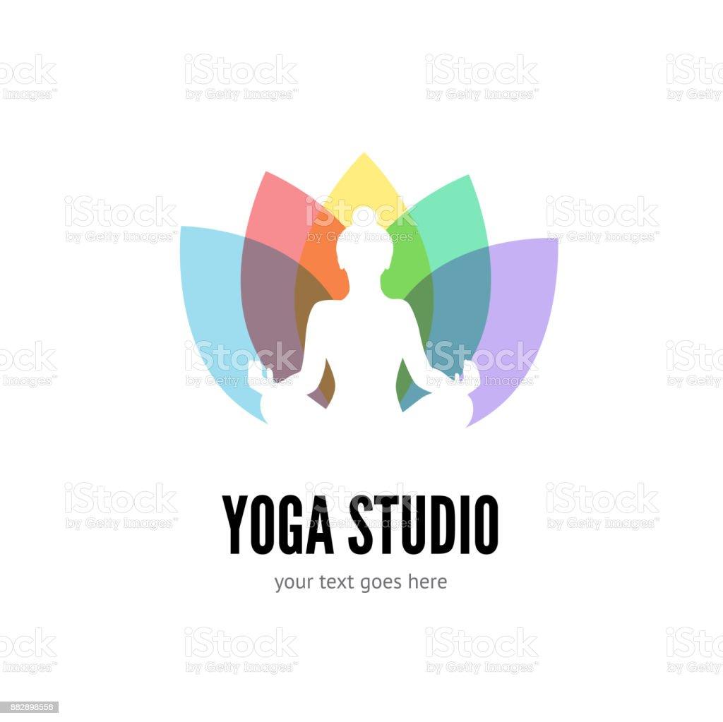 Yoga logotipo plano vector emblema - ilustración de arte vectorial